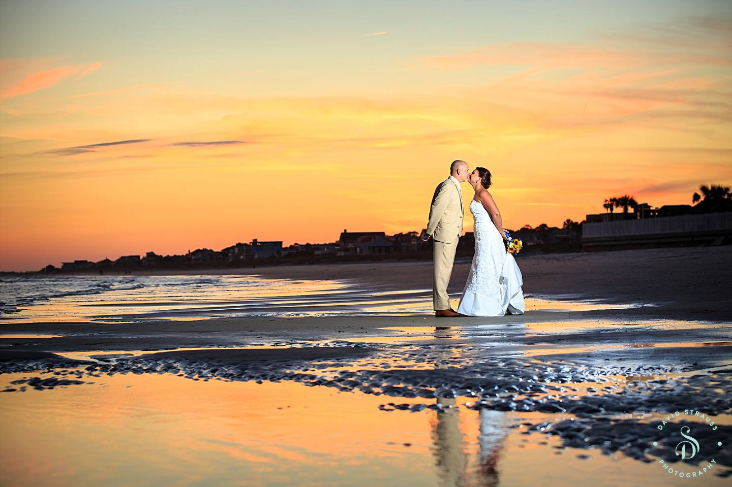 Beach Wedding Sunset Folly Photography Brenna And David